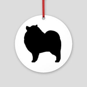 keeshondsilhouette Round Ornament