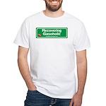 Recovering Gasoholic White T-Shirt