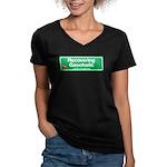 Recovering Gasoholic Women's V-Neck Dark T-Shirt