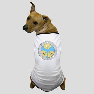 Porthole Triplets With White Text Blue Dog T-Shirt