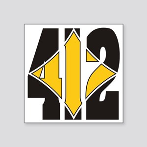"412 Black/Gold-W Square Sticker 3"" x 3"""