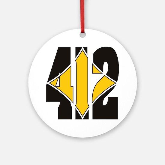 412 Black/Gold-W Round Ornament