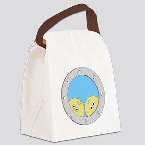 Porthole Twins With White Text Bl Canvas Lunch Bag