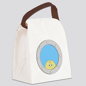 Porthole Baby With White Text Blu Canvas Lunch Bag