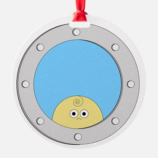 Porthole Baby With White Text Blue  Ornament
