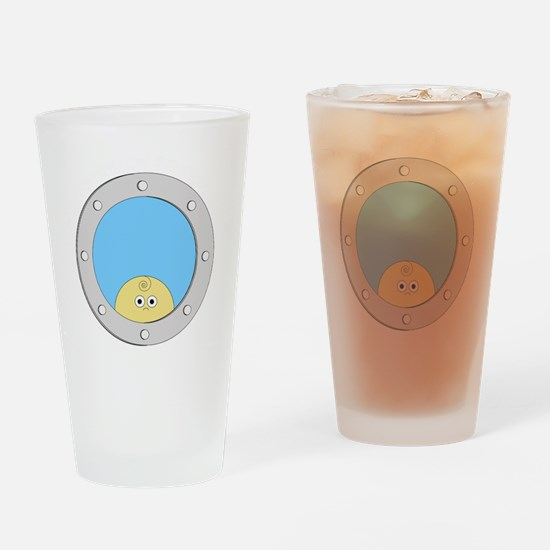 Porthole Baby With White Text Blue  Drinking Glass