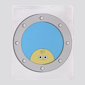 Porthole Baby With White Text Blue B Throw Blanket