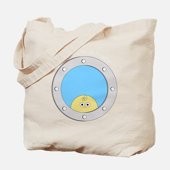 Porthole Baby With White Text Blue Backgr Tote Bag