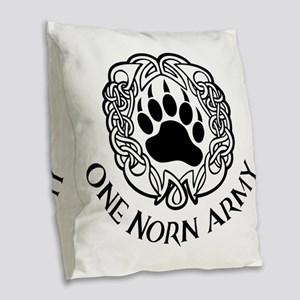 One Norn Army Burlap Throw Pillow