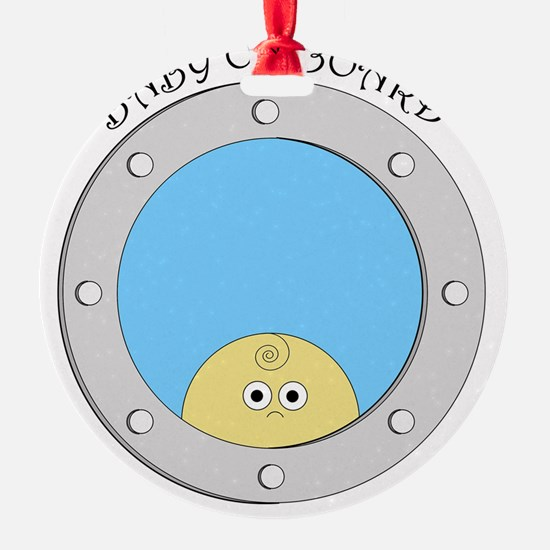 Porthole Baby With Black Text Blue  Ornament