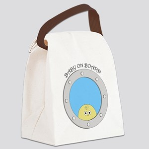 Porthole Baby With Black Text Blu Canvas Lunch Bag