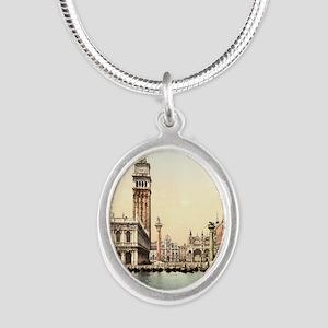 Vintage Venice Silver Oval Necklace