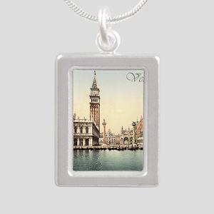 Vintage Venice Silver Portrait Necklace