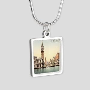 Vintage Venice Silver Square Necklace