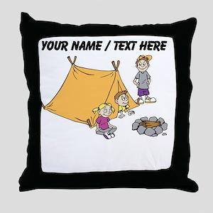 Custom Kids Camping Throw Pillow