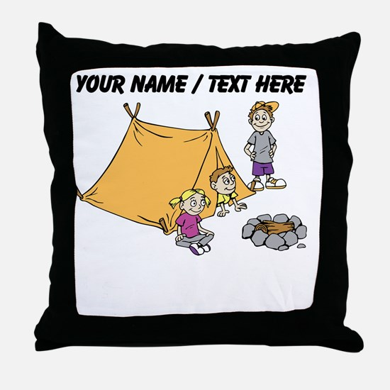 Custom Kids Camping Throw Pillow