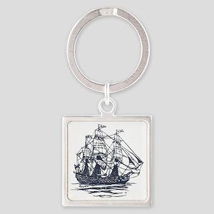 Nautical Ship Square Keychain
