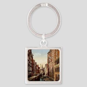 Vintage Amsterdam Square Keychain