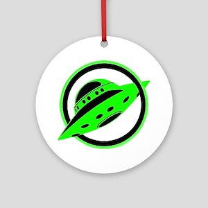 UFO In Flight Round Ornament