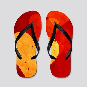 Red and Yellow Vintage Hearts Twin Duve Flip Flops