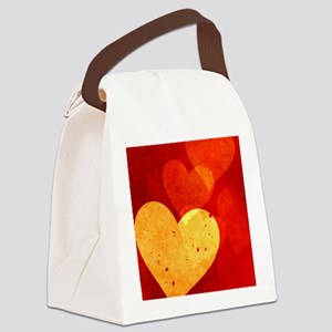 Red and Yellow Vintage Hearts Twi Canvas Lunch Bag