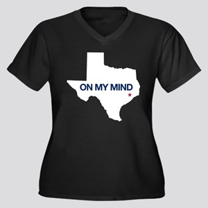 Houston, Tex Women's Plus Size V-Neck Dark T-Shirt