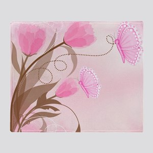 Butterflies and Tulips Pillowcase Throw Blanket
