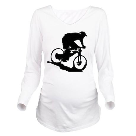 Mountain Biker Long Sleeve Maternity T-Shirt
