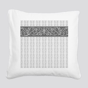 Pretty Gray Flowers Square Canvas Pillow