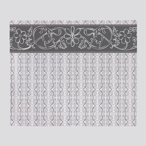 Pretty Gray Flowers Throw Blanket