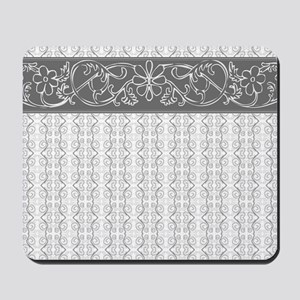 Pretty Gray Flowers Mousepad