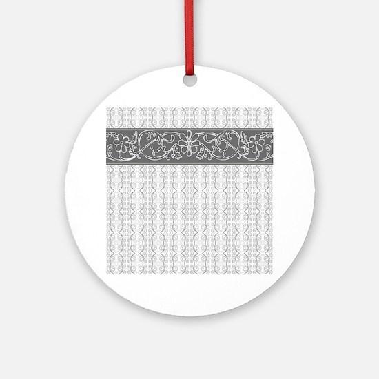Pretty Gray Flowers Round Ornament