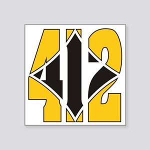"412 Gold/Black-W Square Sticker 3"" x 3"""