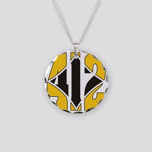 412 Gold/Black-W Necklace Circle Charm