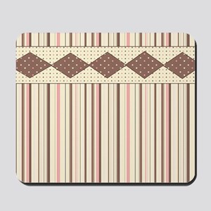 Brown and Pink Stripes Mousepad