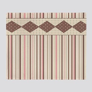 Brown and Pink Stripes Throw Blanket