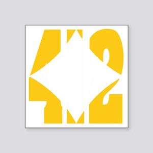 "412 Gold/Whilte-D Square Sticker 3"" x 3"""