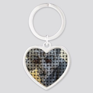 Woven picture Heart Keychain