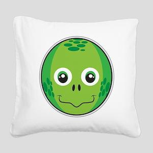 Happy Turtle Square Canvas Pillow