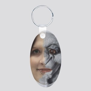 Half Gargoyle face Aluminum Oval Keychain