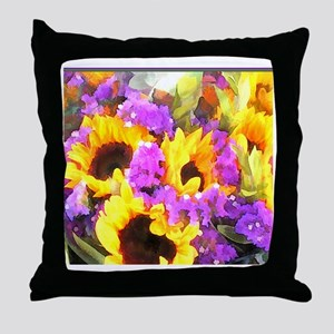 Sunflower and Statice Bouquet Throw Pillow
