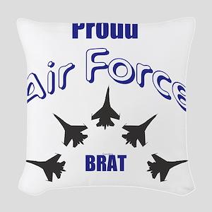 Proud Air Force Brat Woven Throw Pillow