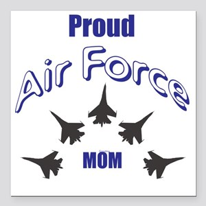 """Proud Air Force MOM Square Car Magnet 3"""" x 3"""""""