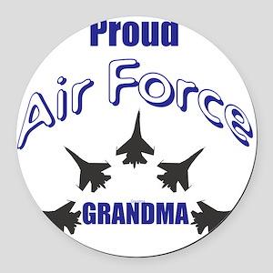 Proud Air Force Grandma Round Car Magnet