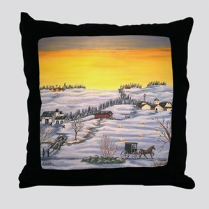 Amish in Lancaster County Pennsylvani Throw Pillow