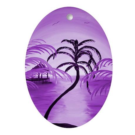 Purple Beach Oval Ornament