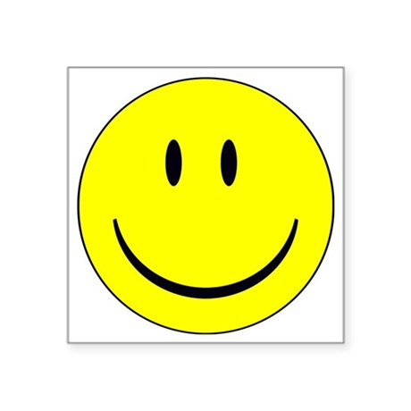 "happy face - smiley Square Sticker 3"" x 3"""