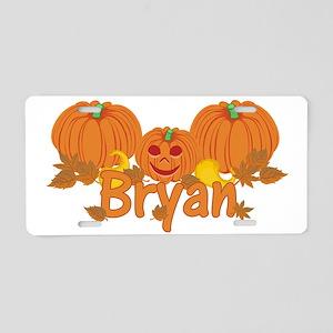 Halloween Pumpkin Bryan Aluminum License Plate