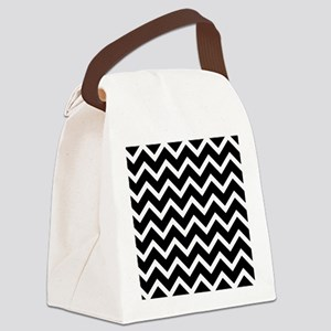 Black and White Chevrons Canvas Lunch Bag