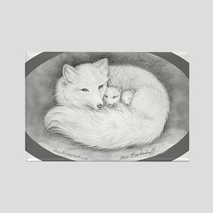 Arctic Fox Family Rectangle Magnet